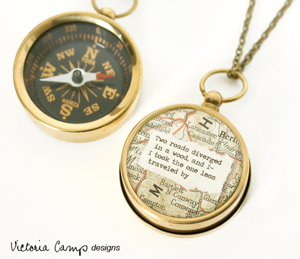 Working Compass Necklace - Robert Frost Two Roads Diverge Poem - 4